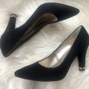 Black Suede Block Heel Pump with Gold Accent